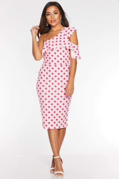 Petite Pink Polka Dot One Shoulder Midi Dress